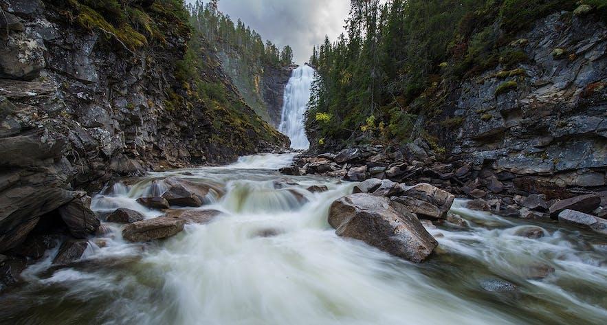 Henfallet waterfall, Tydal, Sør-Trøndelag