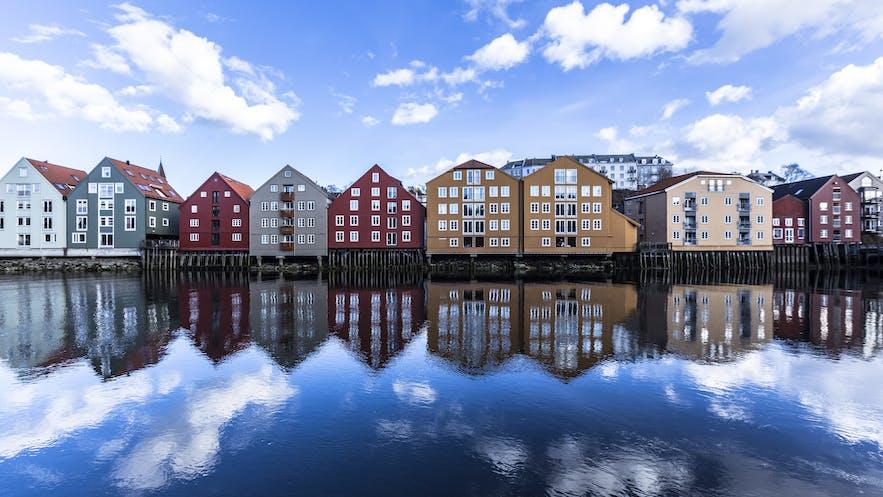 Colorful wharfs at Bakklandet, Trondheim