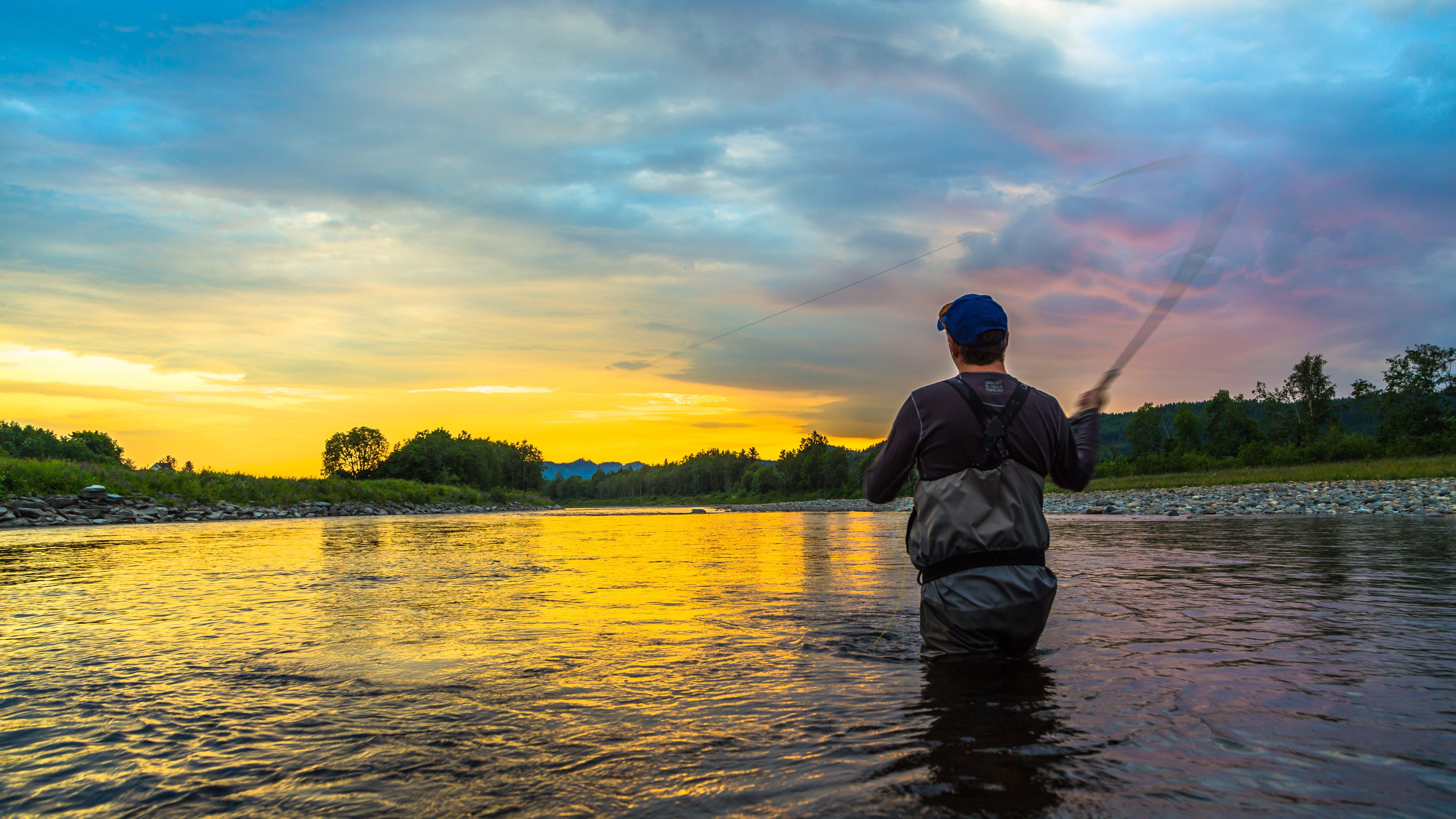 Salmon fishing in the river Stjørdalselva in Norway