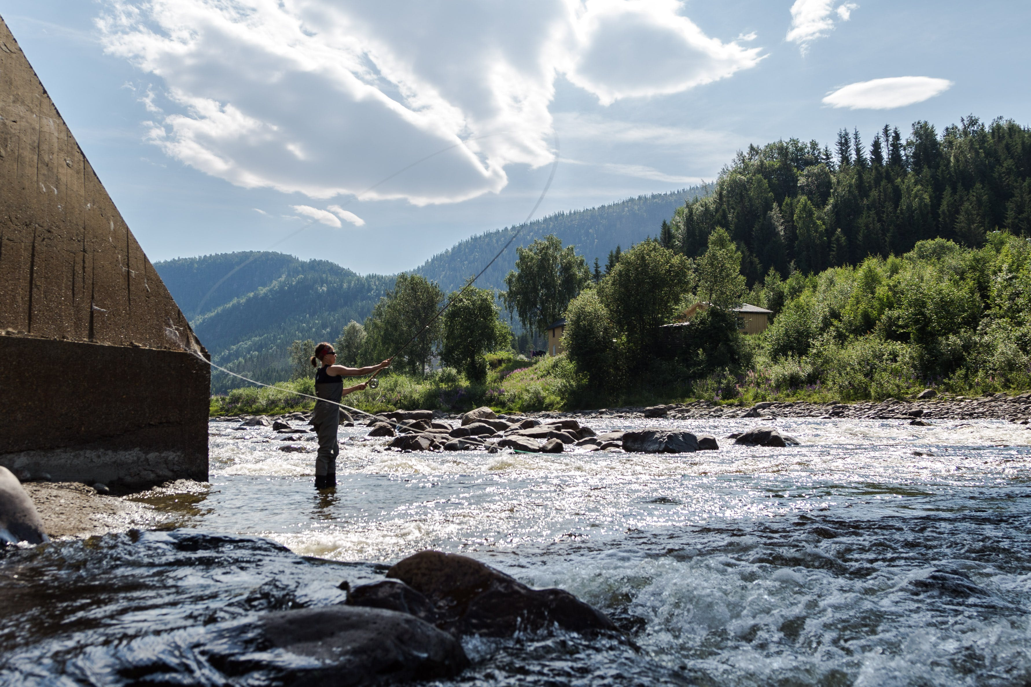 Catching salmon is for men and women, young and old