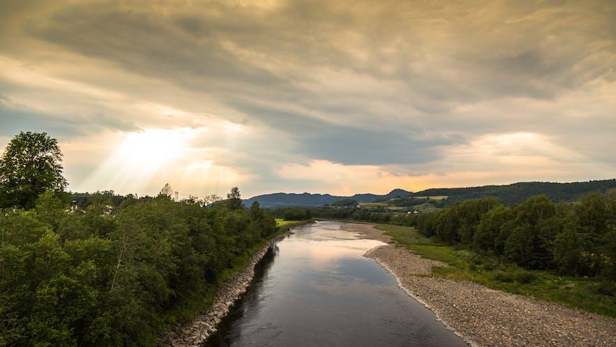 Sunset in the river Stjørdalselva