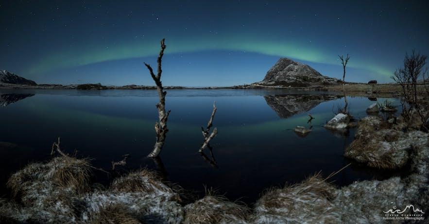 Moonlit Aurora Reflections
