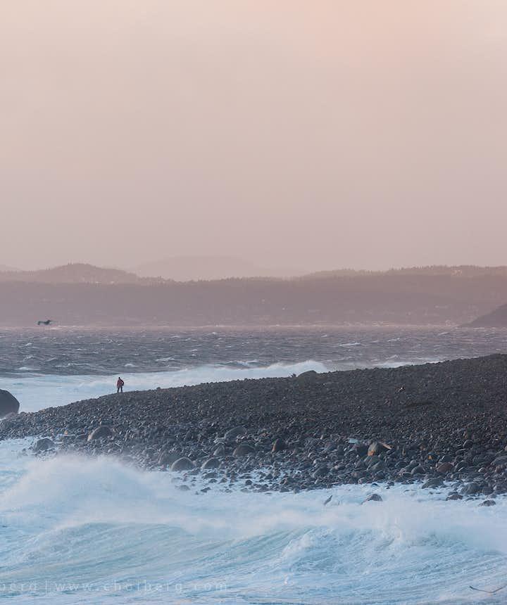 sunset at mølen beach in larvik