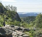 view on the hiking path of Preikestolen